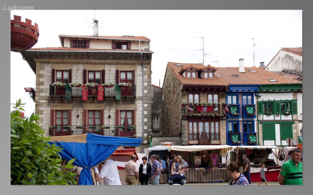 The Plaza Mayor in Hondaribbia is one of the most colorful we've seen