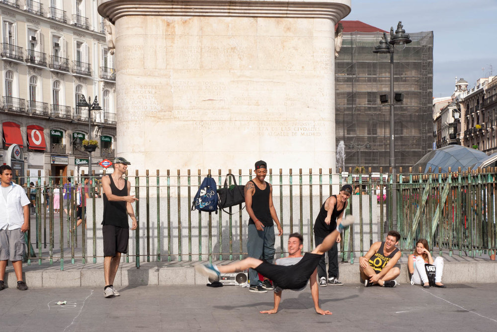 Break dancing at the Plaza Mayor