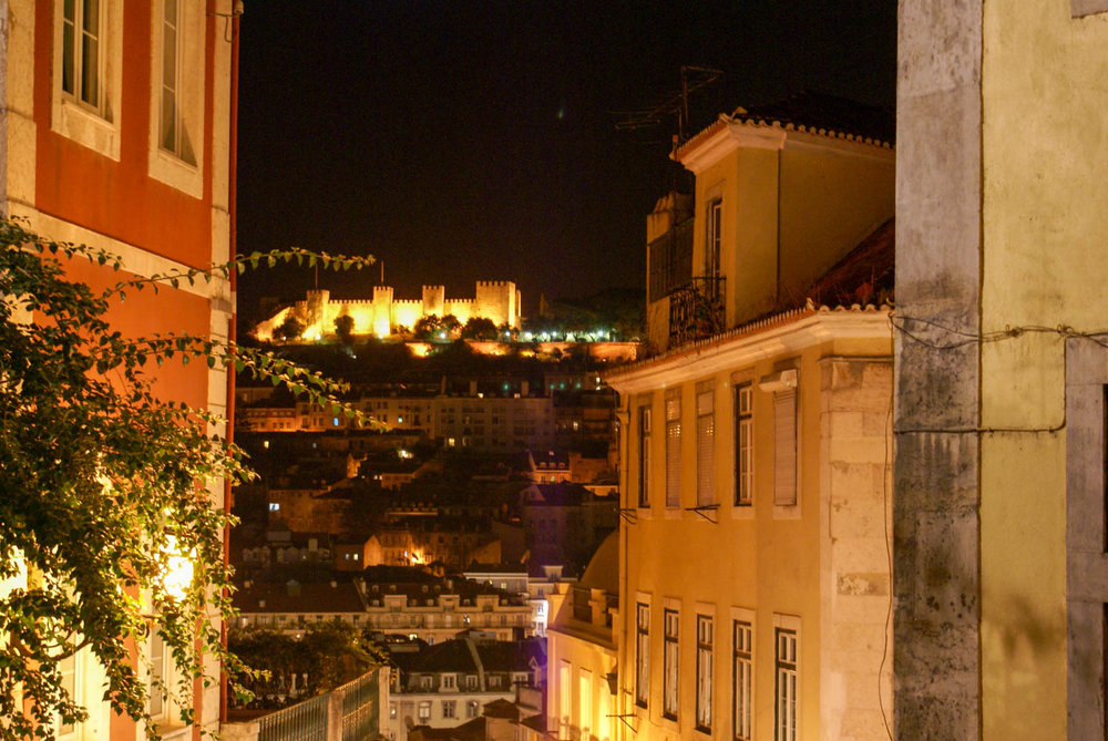 Lisbon at night, looking at Castle of Sao Jorge