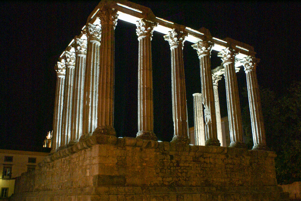 Roman Temple at night
