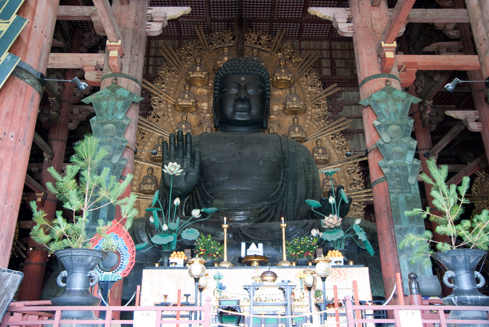 Daibutsu: reputedly the world's largest bronze statue of Buddha