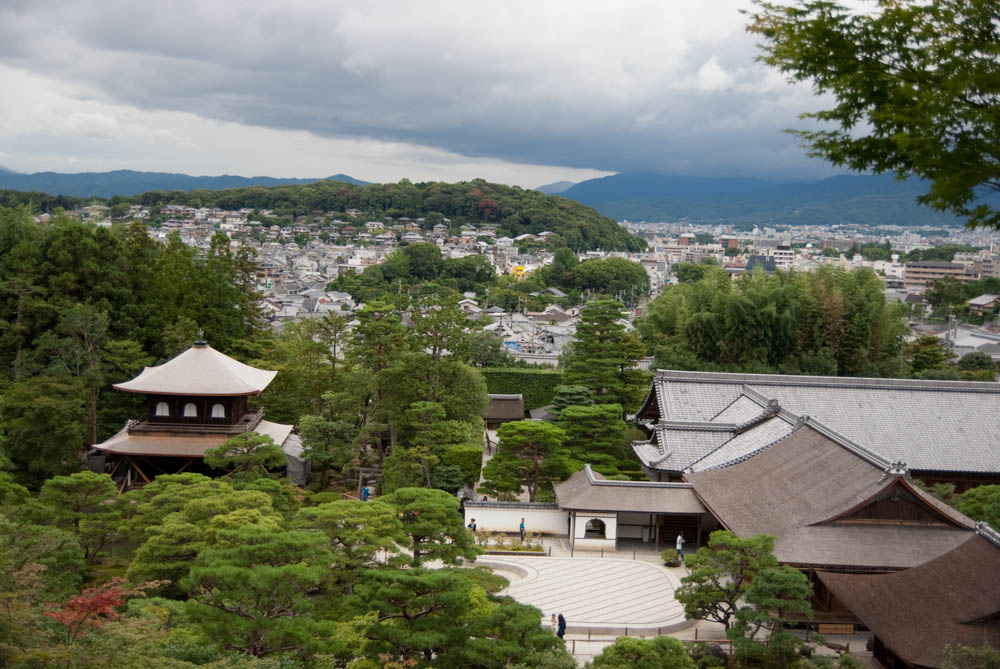 Overlooking Ginkaku-ji (Silver pavilion) temple and gardens with a view of the city of Kyoto