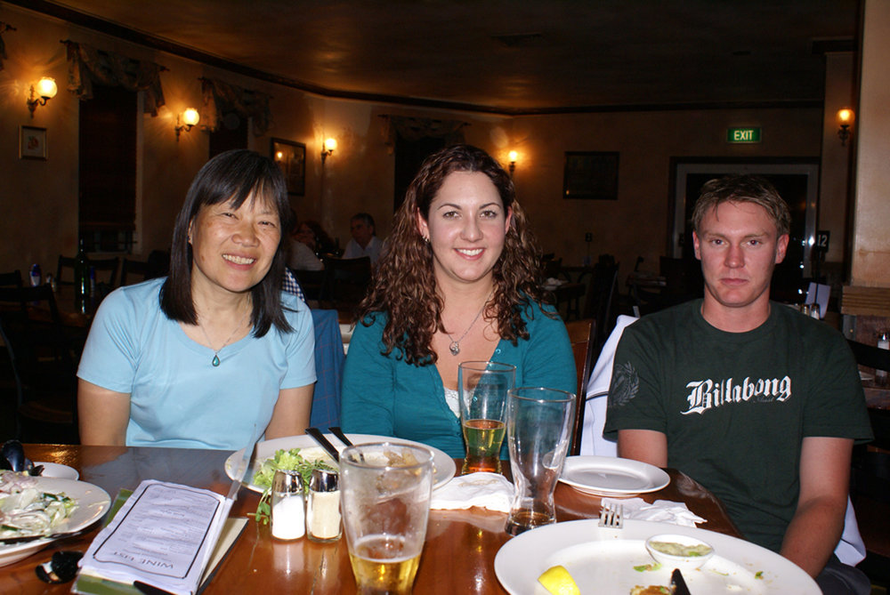 With Sally and her friend at the local pub