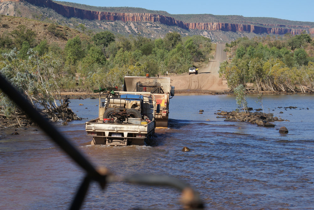 Fording the Drysdale River in a convoy