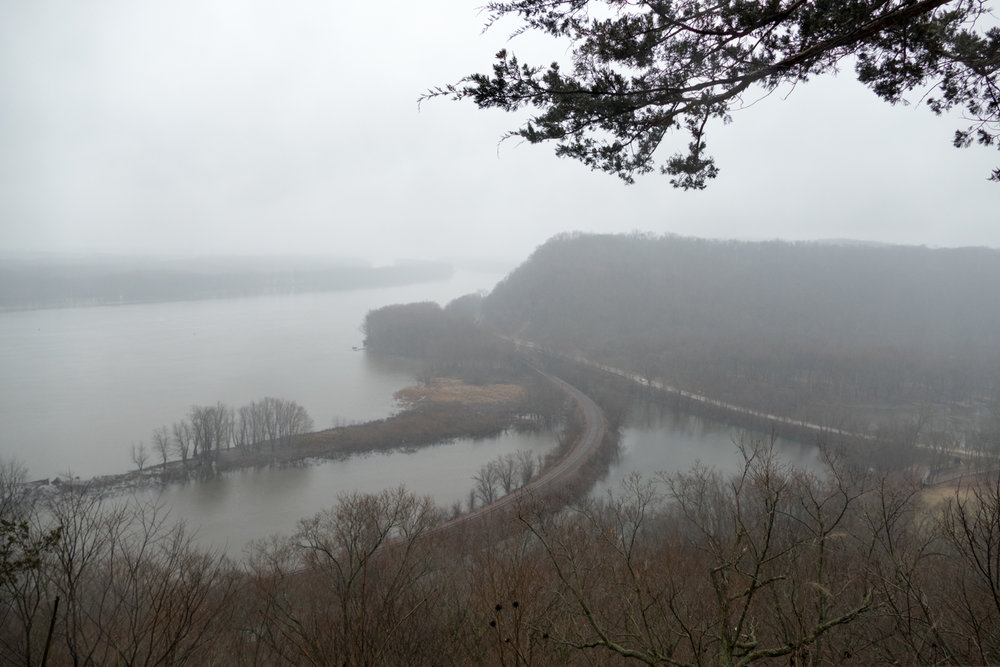 View of the Mississippi River in fog from the Effigy Mound National Monument