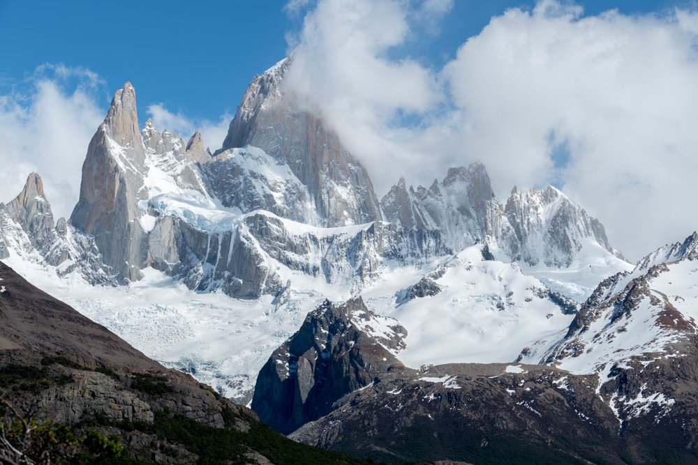 The FitzRoy massif from the hike to Piedras Blancas glacier