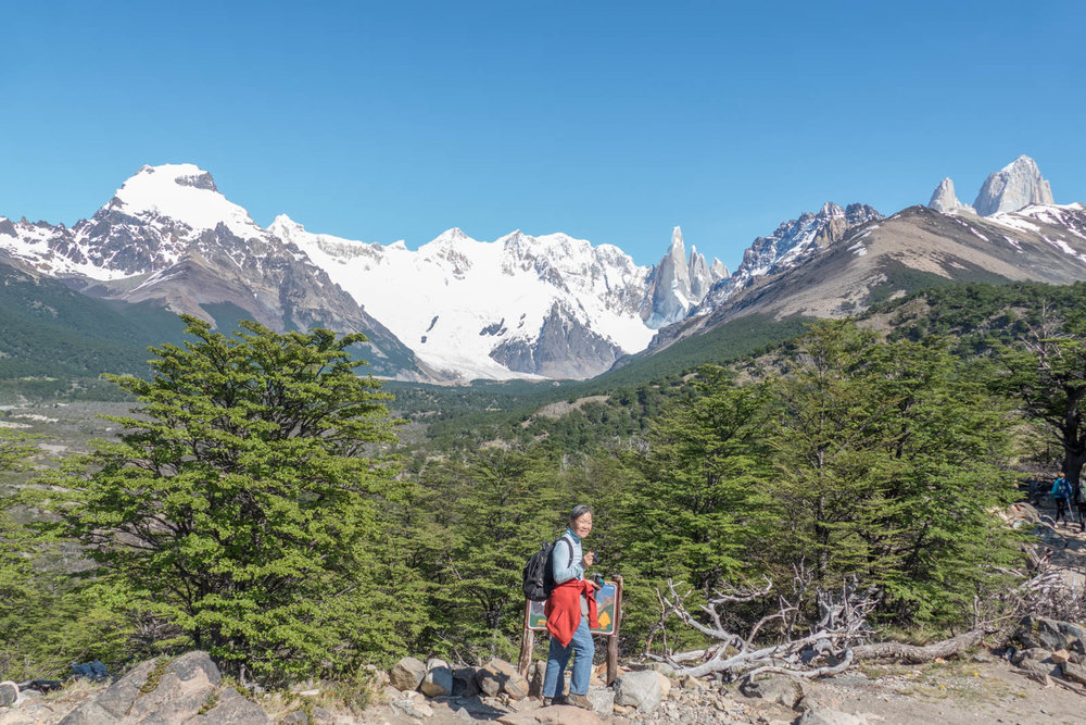 On the hike to Laguna Torre with FitzRoy on the far right and Cerro Torre on the left
