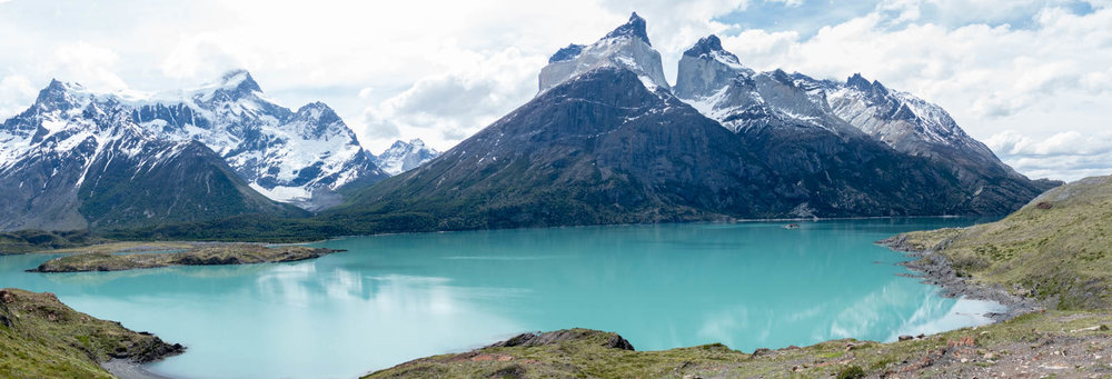 Panorama of Cuernos del Paine and Laguna Nordenskjold