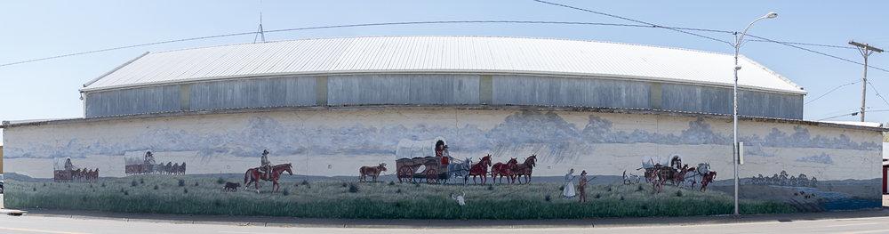 Street mural celebrating the Santa Fe trail in Syracuse, KS