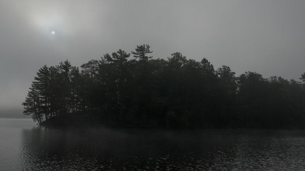 Sun trying to break through the fog