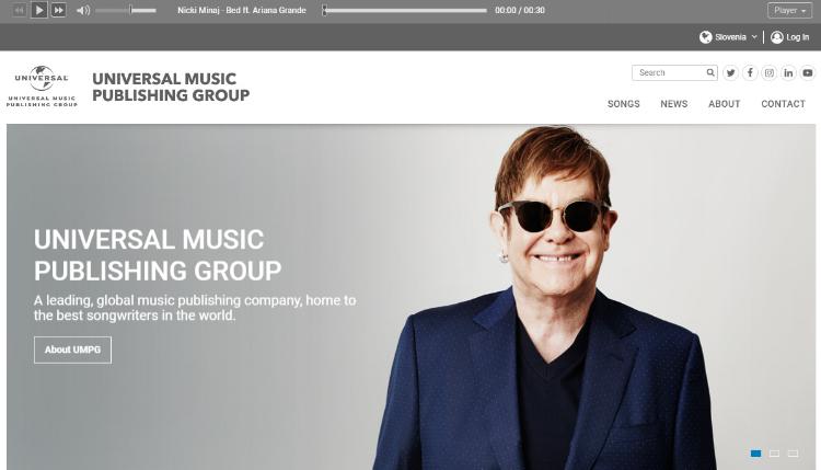 Celoten repertoar Universal Music Publishing si lahko ogledate na povezavi UMPG Songs. -
