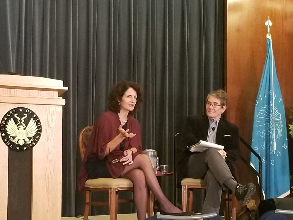 Pulitzer Prize winning book reviewer, Michael Dirda, interviewing Charlotte at the Library of Congress.  October 2018