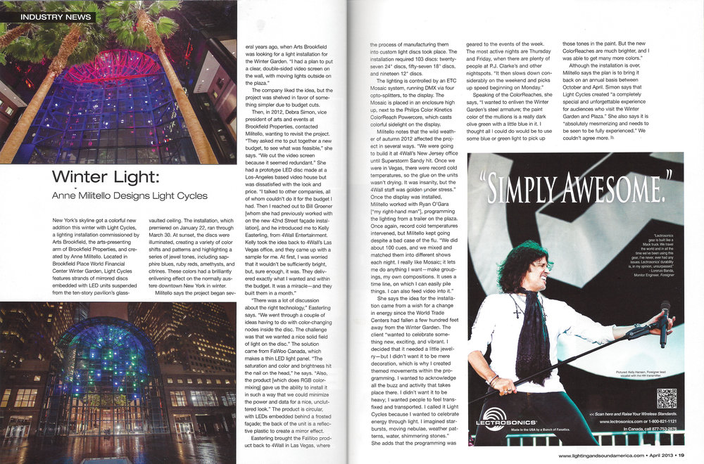 LIGHT AND SOUND | APRIL 2013