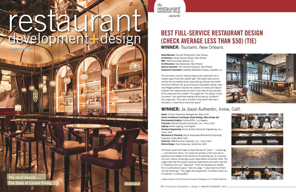RESTAURANT DEVELOPMENT + DESIGN | JANUARY/FEBRUARY 2019