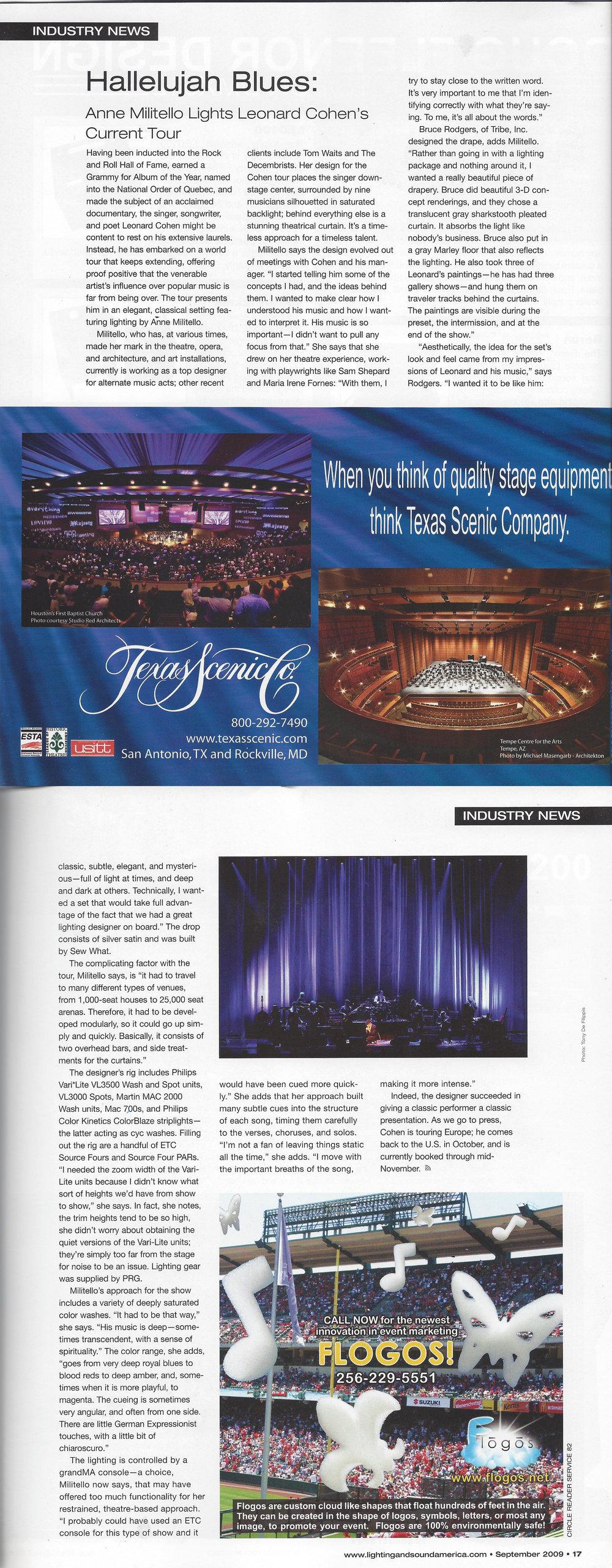 LIGHTING & SOUND AMERICA | SEPTEMBER 2009