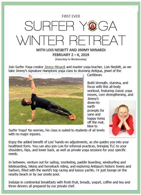 Surfer Yoga Winter Retreat - February 2 - 6: Jimmy and Lois are hosting a Surfer Yoga retreat in Antigua.