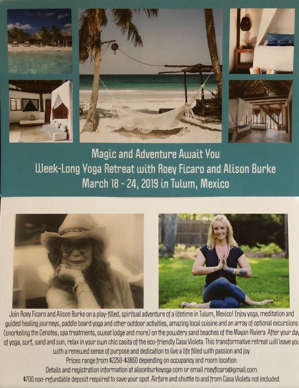 Magic and Adventure Await you in Mexico - March 28 - 24: Tulum Mexico, with Roey Ficaro and Alison Burke