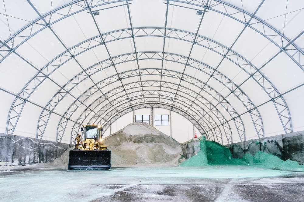 Photo Credit:  Evan Frost  |  MPR News 2017    Minnesotans probably don't need to worry in the short term that the road salt at the city of Plymouth maintenance facility will make it into drinking water.