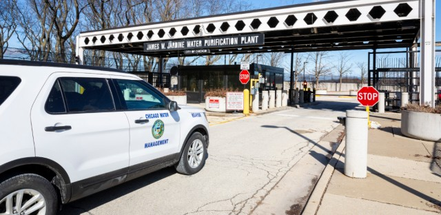 A Chicago Department of Water Management vehicle outside the Jardine Water Purification Plant last week.