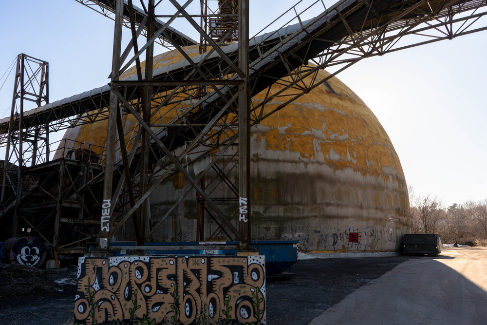 An abandoned storage dome at the Upper Harbor Terminal site.