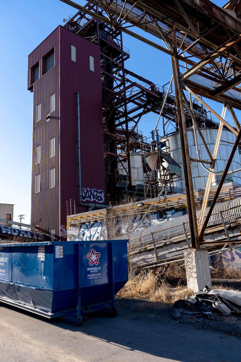 Unoccupied silos at the Upper Harbor Terminal site.