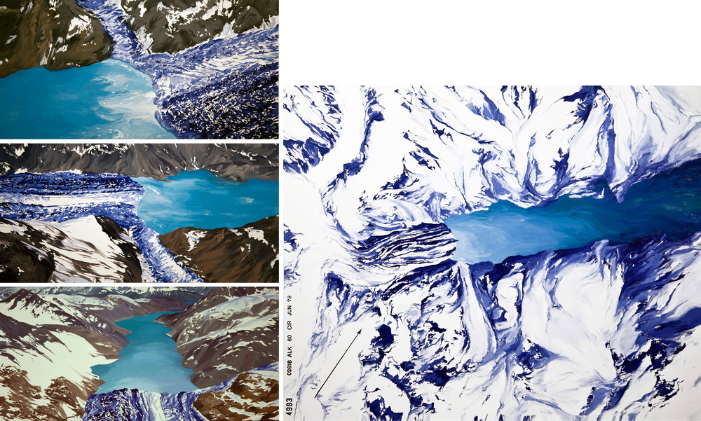 Johns Hopkins, Gilman Glacier, 2010 (after Bruce Molnia) 1,2,3; Johns Hopkins Glacier, 1978, USGS