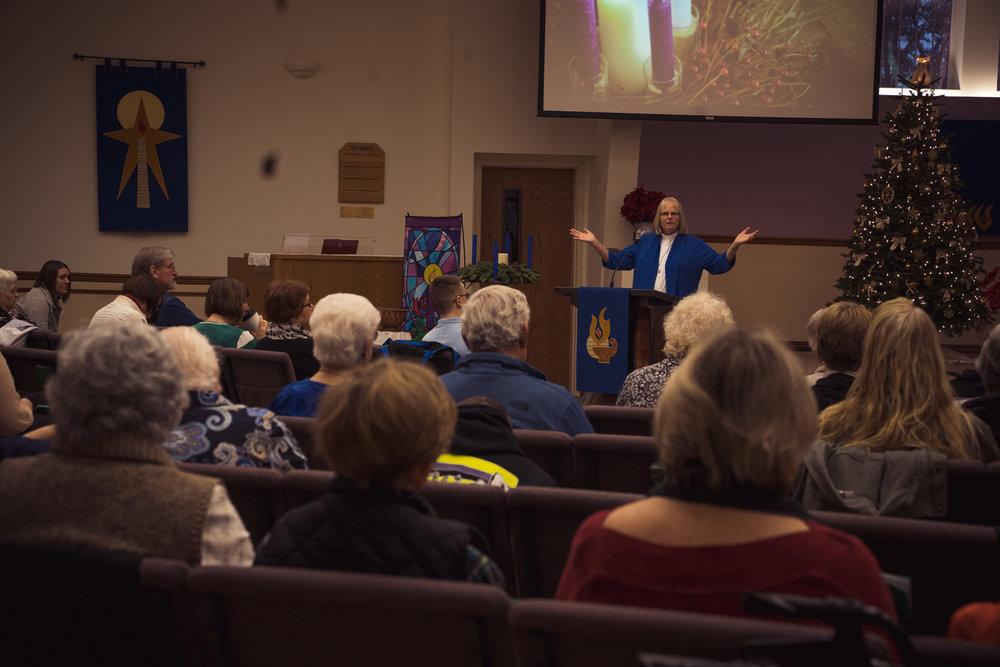 Pastor Linda Nou addressing the congregation at Immanuel Lutheran Church in Centralia, WA