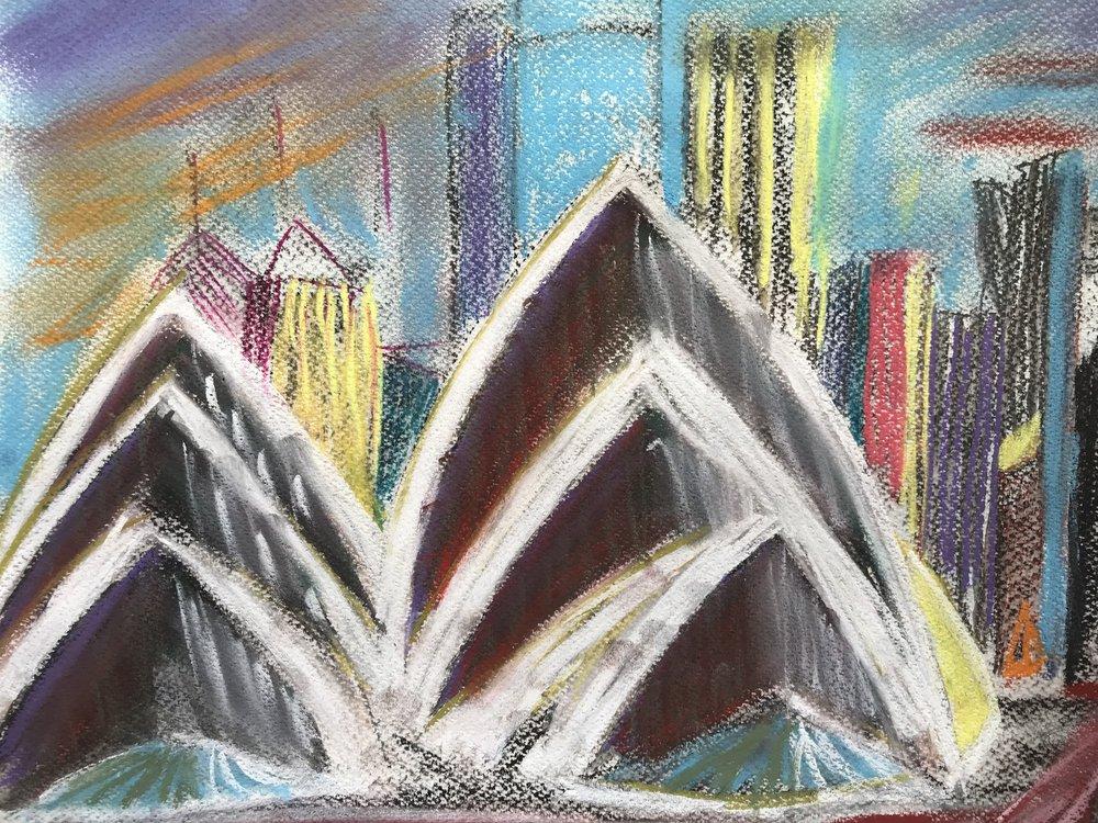 Opera house-pastel drawing