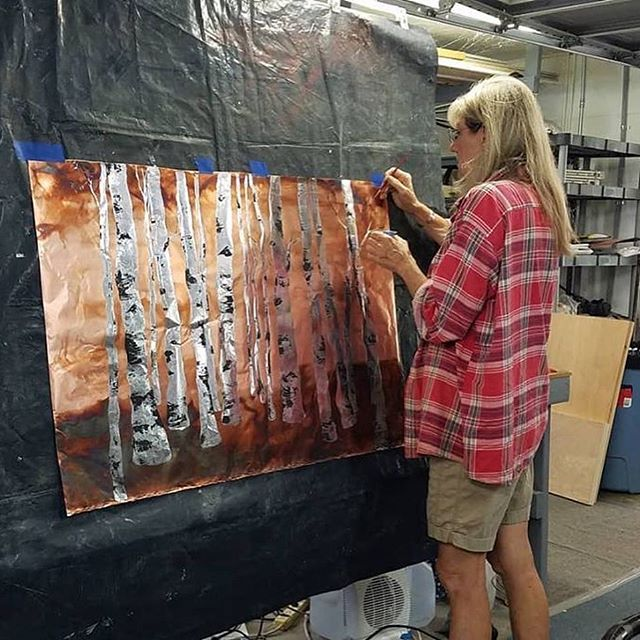 April Bower is finishing this beautiful piece for our gallery.  It should arrive before the Art in Kayenta Festival which begins October 12.