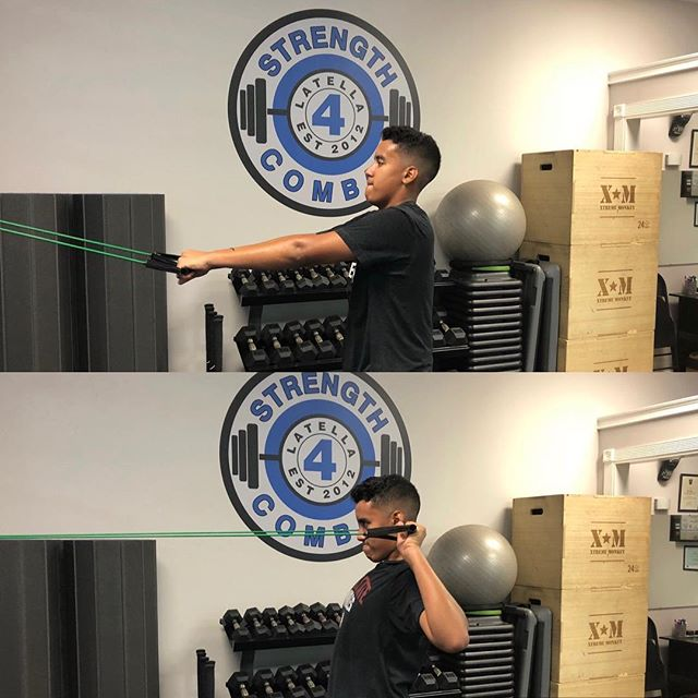 AJ is performing the face pull, a great exercise for improving posture and building strength in your upper back and shoulders. . . .  @ajrichiez #facepull #posture #traps #delts #shoulders #gym #boynton #boyntonbeach #strength4combat