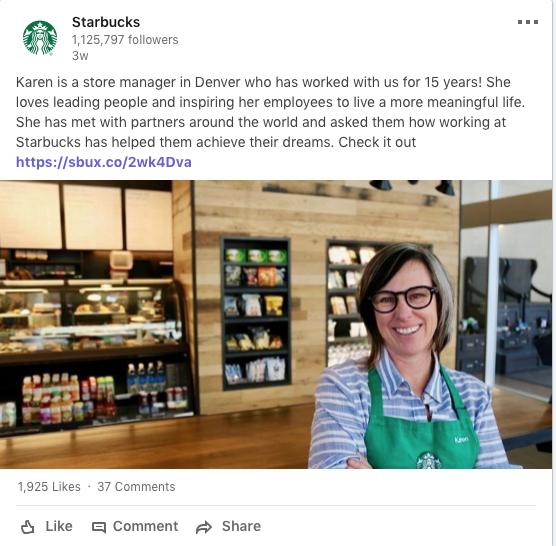 Starbucks LinkedIn -