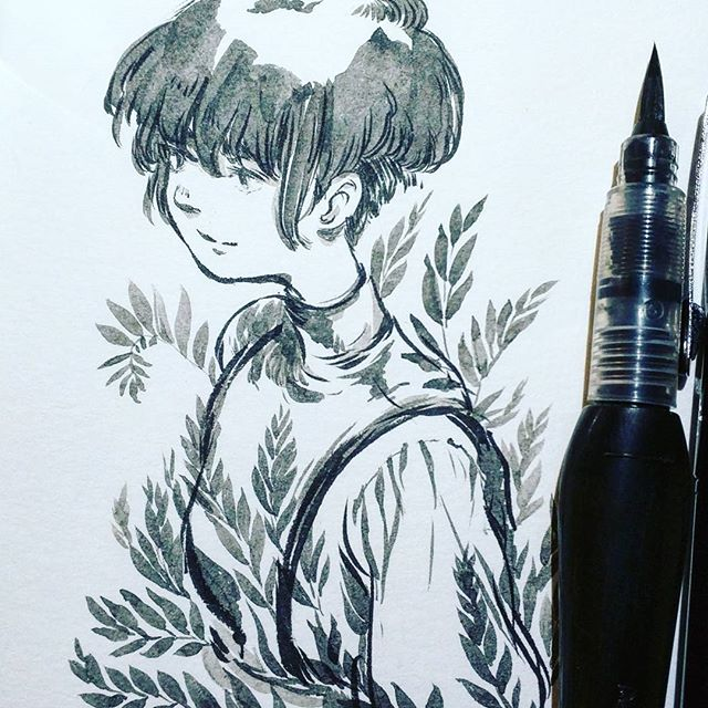 Oleander doodle. Sorry I always draw him. I'm trying to get his look down 😣 #ink #sketch
