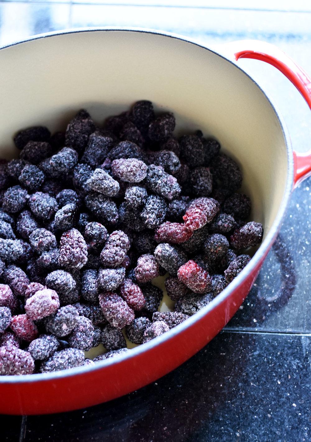 Blackberries for Blackberry Chipotle Jam