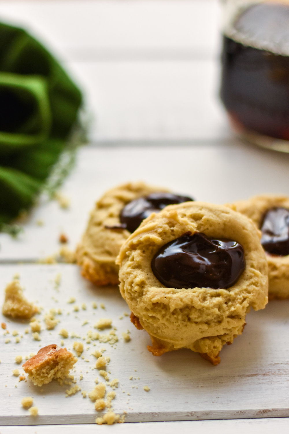 thumbprint cookies with chocolate ganache