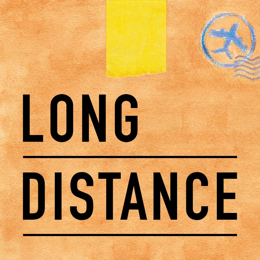"This is the Long Distance podcast cover art. It is an image of a brown box with yellow tape on top, postage stamp marks, and the show title ""Long Distance."""