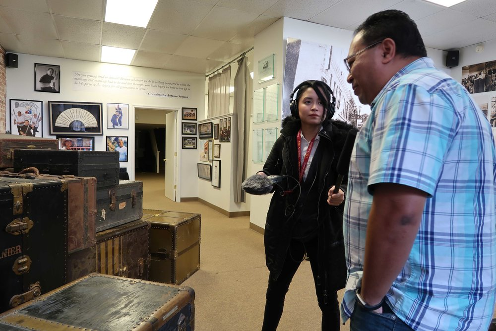 Host and producer Paola Mardo with Little Manila Rising co-founder Dillon Delvo at the Little Manila Center in Stockton, California. Photo by Patrick Epino.