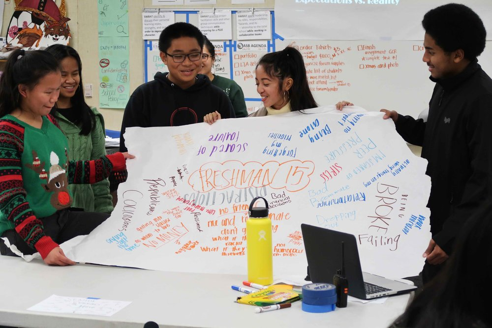Celin Corpuz (center) presents her group project at the Little Manila After School Program at Edison High School in Stockton, California. Photo by Patrick Epino.