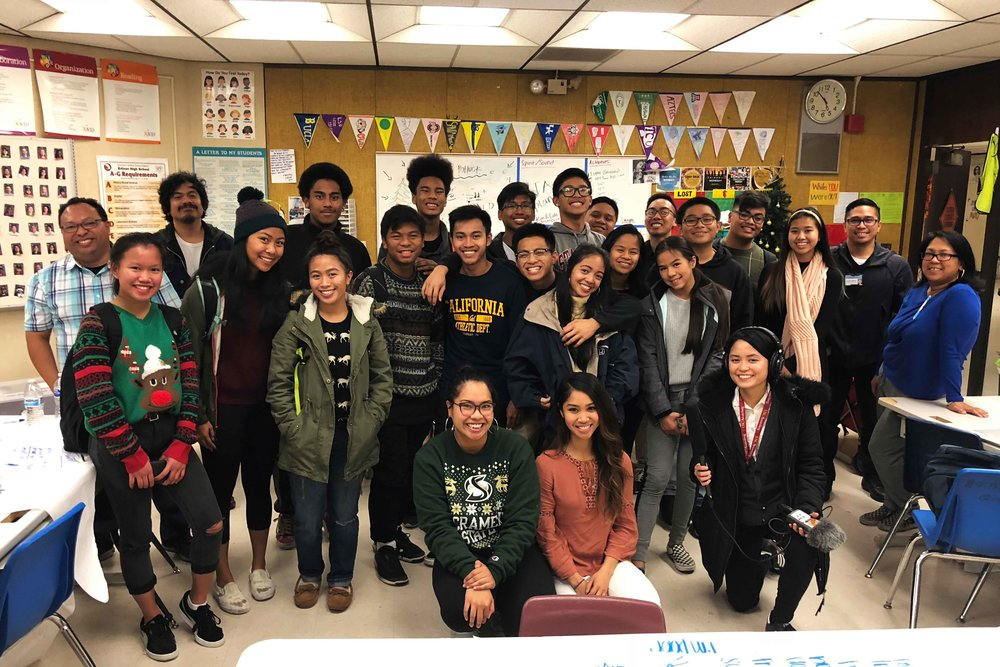 The students and teachers of the Little Manila After School Program at Edison High School in Stockton, California. Host and producer Paola Mardo and co-producer Patrick Epino are also pictured. Courtesy of LMASP.