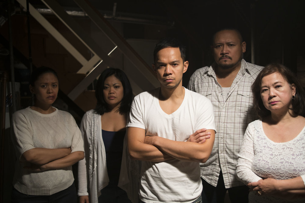 Theresa Navarro, L.A. Renigen, Jon Norman Schneider, Brian Rivera, and Josephine de Jesus star in a scene from H.P. Mendoza's  Bitter Melon.  Photo by Susie Heyden. Courtesy Ersatz Film.