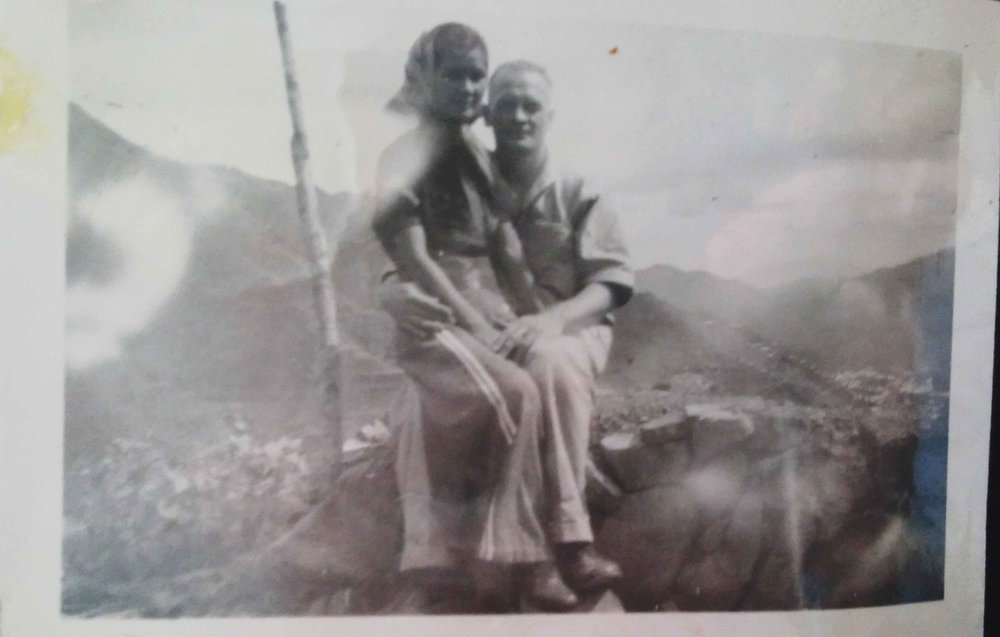 Marciana Sobrino Bonnivier with Gerhard Gustav Bonnivier, parents of Carlene Sobrino Bonnivier, at the Banaue Rice Terraces, near Marciana's home in Baguio, Philippines circa 1930s.