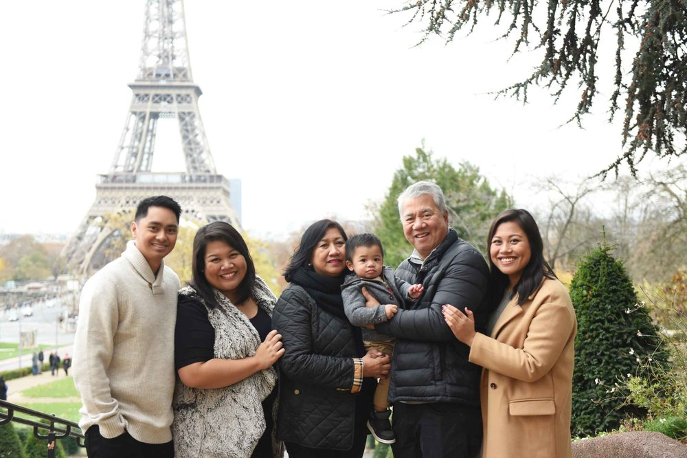 The Ilagan-Lingasin family in Paris, France in 2018. From left: Ryan, Pia, Ana, Noah, Wally, and Abby.