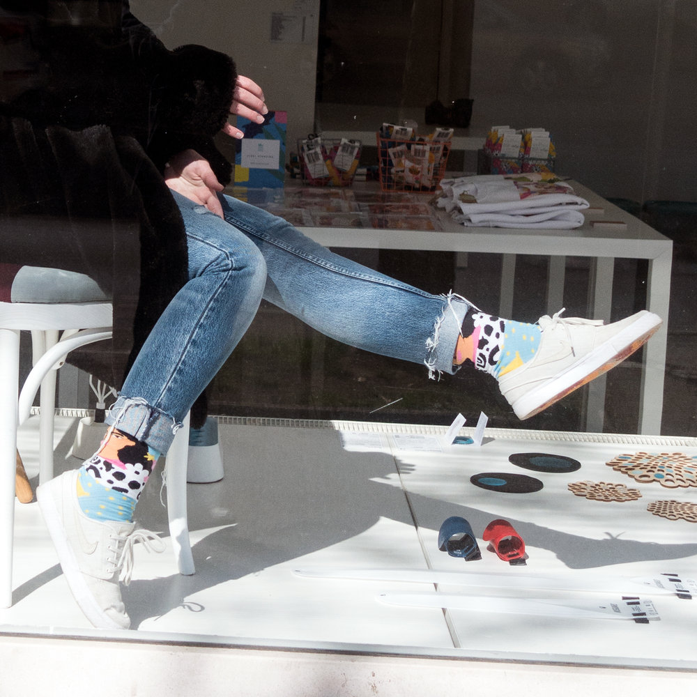 """Collaboration with Zulu Zion - From Zulu Zion""""Zulu Zion x Alja Horvat is the first collaboration in line for Zulu Zion. Joining forces with Alja, we created socks that speak to the people who love Alja's artwork and colorful patterns. Alja's main subjects are strong, independent females surronded with flowers, dogs and celestial almost mystical vibes."""""""