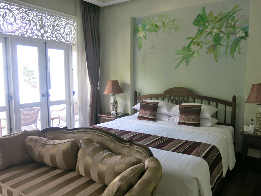 Our spacious room with a large balcony overlooking the pool