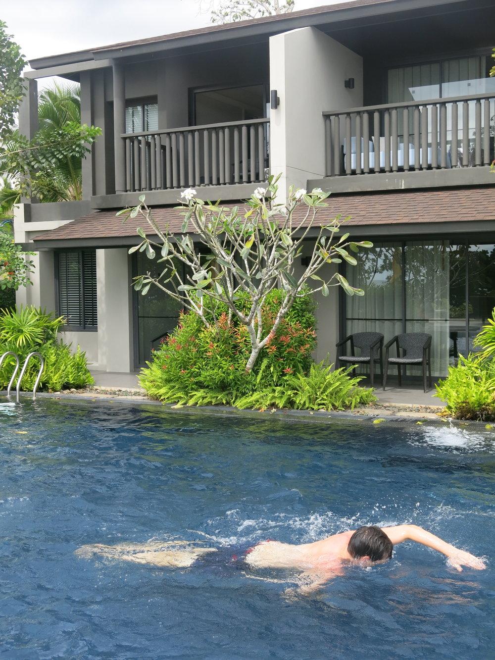 Morning swim at the new Shell Sea hotel Krabi