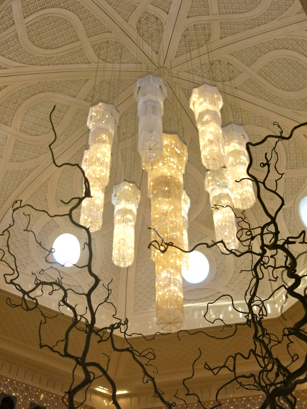 Beautiful chandeliers forming a cascade of crystal