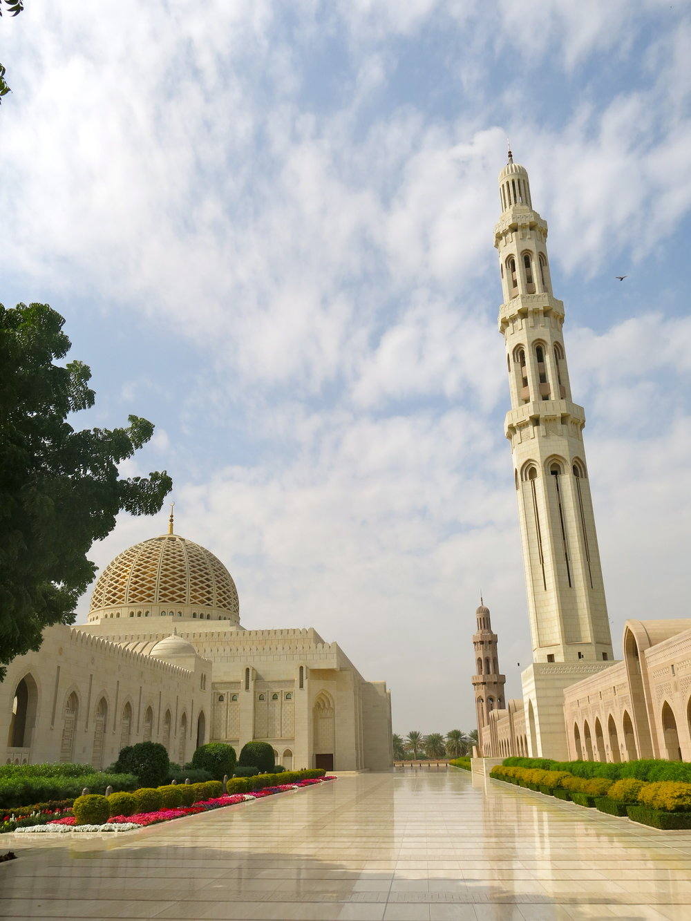 The main praying hall of the mosque with its dome (on the left)