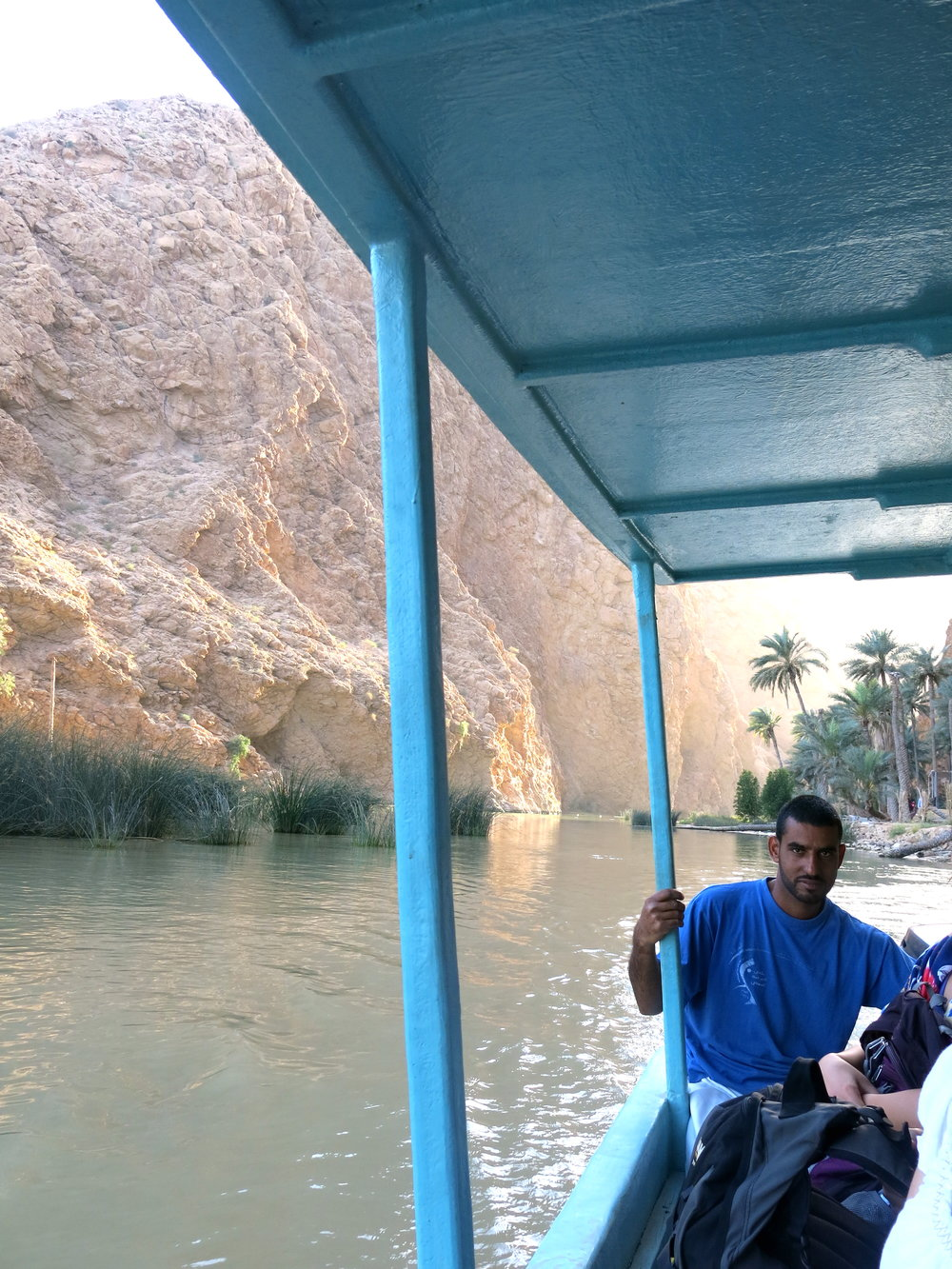 Taking the boat to reach the start of the hike in Wadi Shab