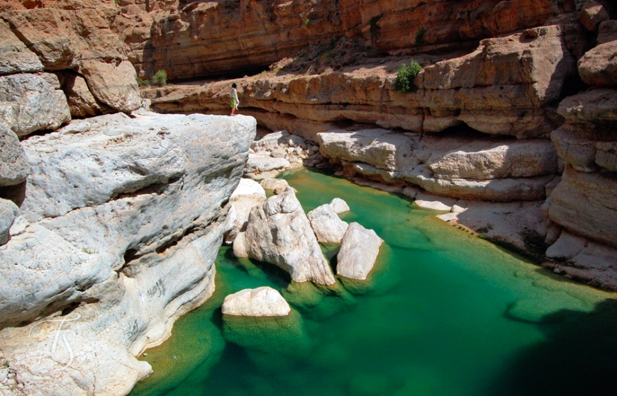 The wadi is full of water to explore by foot and then swim