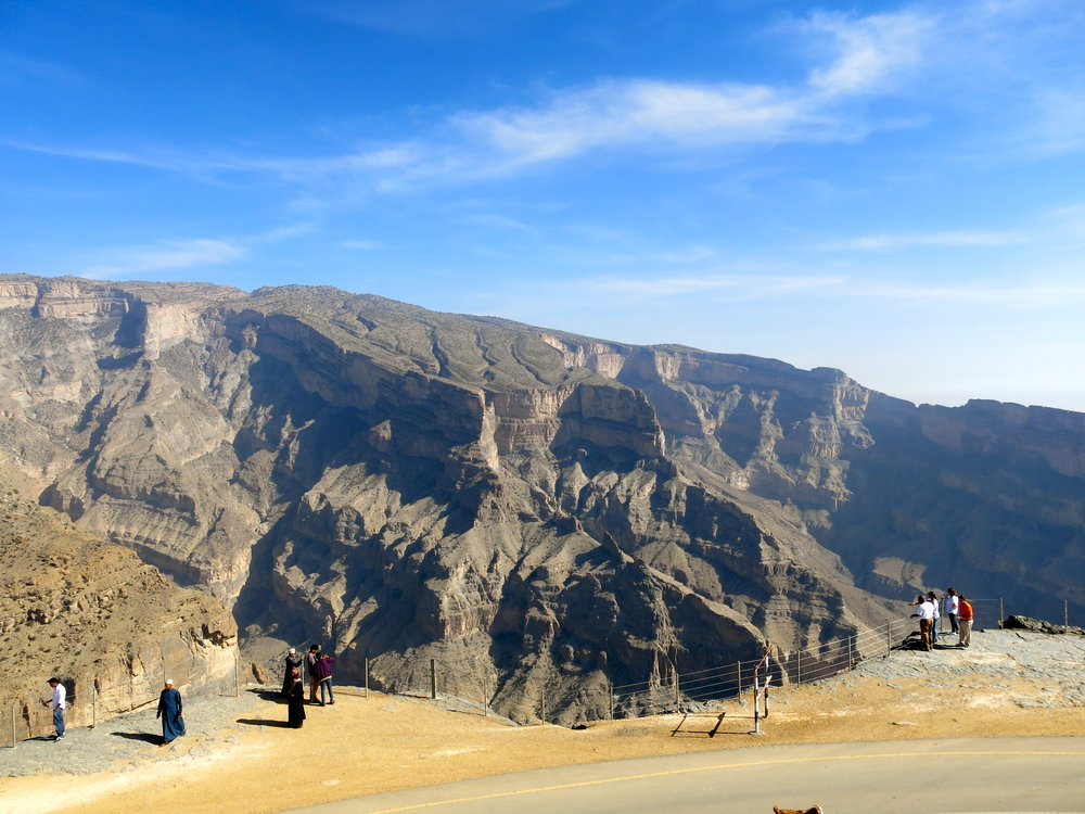 Panoram on the Grand Canyon of Oman from Jebel Shams