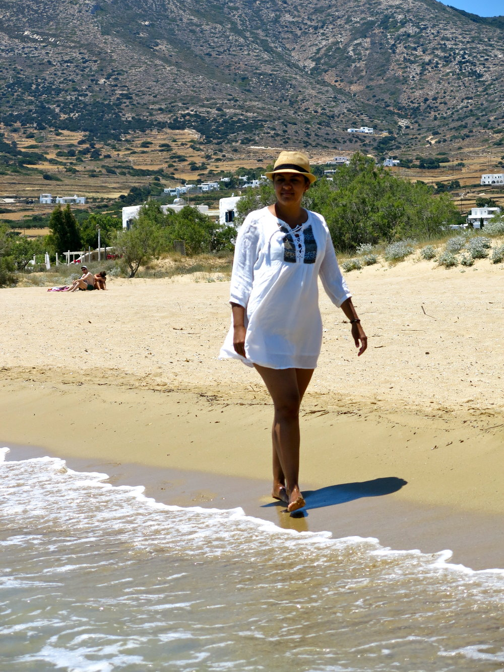 Walking on Golden Beach with the central mountain range in the background
